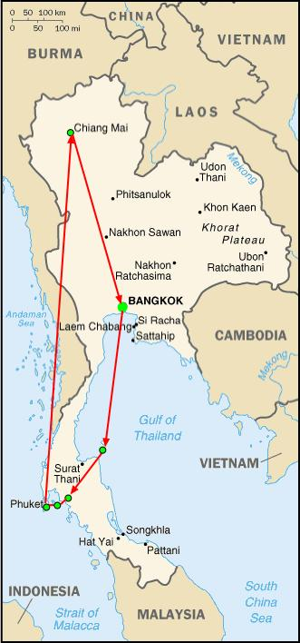 Thailand Travel Route